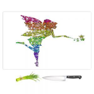 Artistic Kitchen Bar Cutting Boards | Susie Kunzelman - Fairy Dance Rainbow White