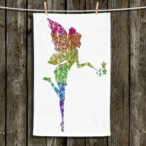 Unique Bathroom Towels   Susie Kunzelman - Fairy Dance Rainbow White