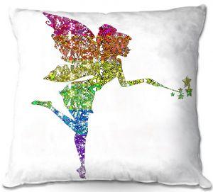 Decorative Outdoor Patio Pillow Cushion | Susie Kunzelman - Fairy Dance Rainbow White