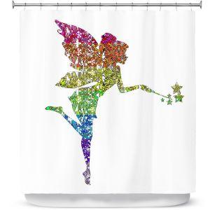 Premium Shower Curtains | Susie Kunzelman - Fairy Dance Rainbow White