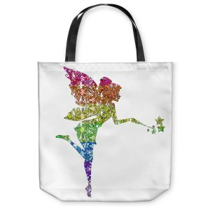 Unique Shoulder Bag Tote Bags | Susie Kunzelman - Fairy Dance Rainbow White