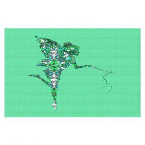 Decorative Floor Coverings | Susie Kunzelman - Fairy Flowers Aqua Green