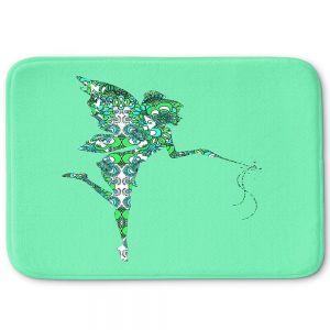 Decorative Bathroom Mats | Susie Kunzelman - Fairy Flowers Aqua Green