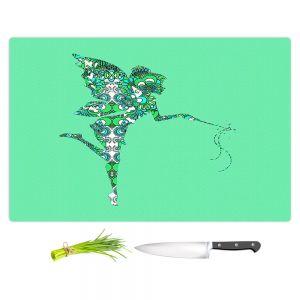 Artistic Kitchen Bar Cutting Boards | Susie Kunzelman - Fairy Flowers Aqua Green