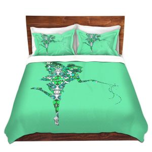 Artistic Duvet Covers and Shams Bedding | Susie Kunzelman - Fairy Flowers Aqua Green
