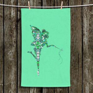 Unique Hanging Tea Towels | Susie Kunzelman - Fairy Flowers Aqua Green | Fairies Magical Childlike