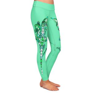 Casual Comfortable Leggings | Susie Kunzelman - Fairy Flowers Aqua Green