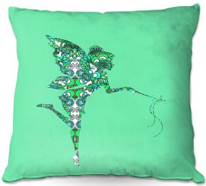 Throw Pillows Decorative Artistic | Susie Kunzelman - Fairy Flowers Aqua Green