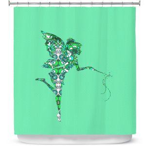 Premium Shower Curtains | Susie Kunzelman - Fairy Flowers Aqua Green