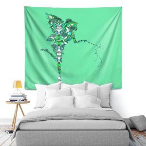 Artistic Wall Tapestry | Susie Kunzelman - Fairy Flowers Aqua Green