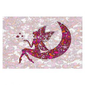 Decorative Floor Coverings | Susie Kunzelman - Fairy Moon Ribbons Red Pink