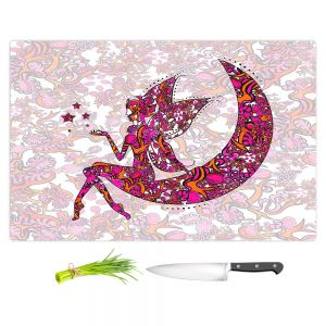 Artistic Kitchen Bar Cutting Boards | Susie Kunzelman - Fairy Moon Ribbons Red Pink