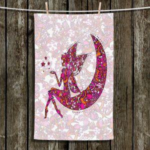 Unique Bathroom Towels   Susie Kunzelman - Fairy Moon Ribbons Red Pink