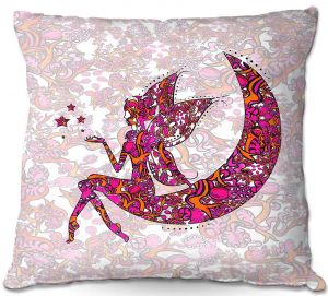 Throw Pillows Decorative Artistic | Susie Kunzelman - Fairy Moon Ribbons Red Pink