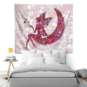 Artistic Wall Tapestry | Susie Kunzelman - Fairy Moon Ribbons Red Pink