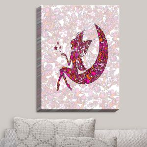 Decorative Canvas Wall Art | Susie Kunzelman - Fairy Moon Ribbons Red Pink