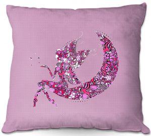 Decorative Outdoor Patio Pillow Cushion   Susie Kunzelman - Fairy Moon I Pink