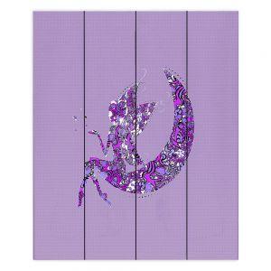 Decorative Wood Plank Wall Art | Susie Kunzelman - Fairy Moon I Purple