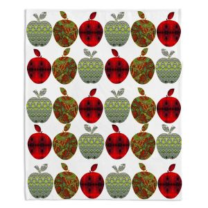 Decorative Fleece Throw Blankets | Susie Kunzelman - Farm Apples | fruit pattern repetition