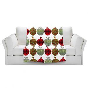 Artistic Sherpa Pile Blankets | Susie Kunzelman - Farm Apples | fruit pattern repetition