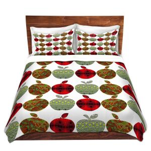 Artistic Duvet Covers and Shams Bedding | Susie Kunzelman - Farm Apples | fruit pattern repetition