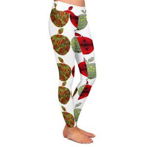 Casual Comfortable Leggings | Susie Kunzelman - Farm Apples | fruit pattern repetition