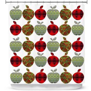 Premium Shower Curtains | Susie Kunzelman - Farm Apples | fruit pattern repetition