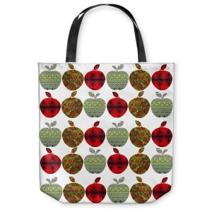 Unique Shoulder Bag Tote Bags | Susie Kunzelman - Farm Apples | fruit pattern repetition