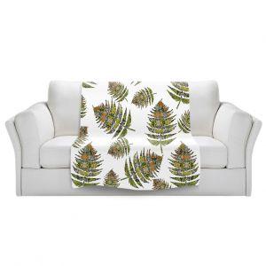 Artistic Sherpa Pile Blankets   Susie Kunzelman - Fern 2 Greens   leaves nature