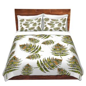 Artistic Duvet Covers and Shams Bedding | Susie Kunzelman - Fern 2 Greens | leaves nature