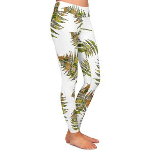 Casual Comfortable Leggings | Susie Kunzelman - Fern 2 Greens | leaves nature