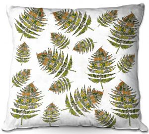 Decorative Outdoor Patio Pillow Cushion | Susie Kunzelman - Fern 2 Greens | leaves nature