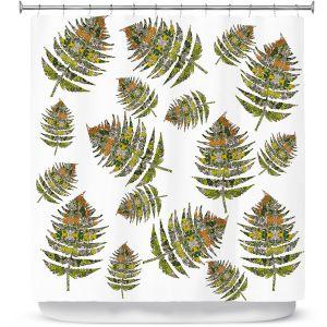 Premium Shower Curtains | Susie Kunzelman - Fern 2 Greens | leaves nature
