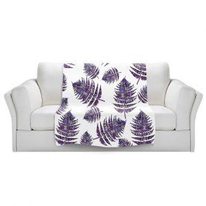 Artistic Sherpa Pile Blankets   Susie Kunzelman - Fern 2 Purple   leaves nature
