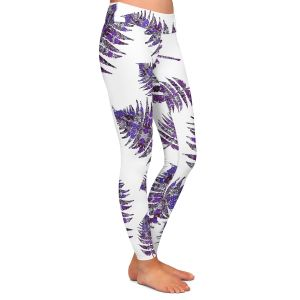 Casual Comfortable Leggings | Susie Kunzelman - Fern 2 Purple | leaves nature