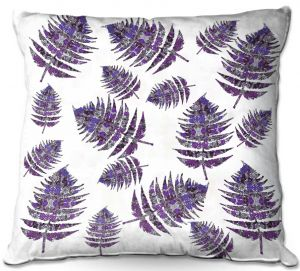 Decorative Outdoor Patio Pillow Cushion | Susie Kunzelman - Fern 2 Purple | leaves nature