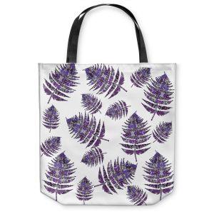 Unique Shoulder Bag Tote Bags | Susie Kunzelman - Fern 2 Purple | leaves nature