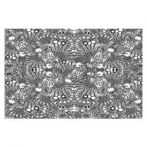 Decorative Floor Covering Mats | Susie Kunzelman - Flowers Go Go Black | Floral pattern repetition
