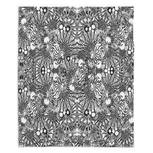 Decorative Fleece Throw Blankets | Susie Kunzelman - Flowers Go Go Black | Floral pattern repetition