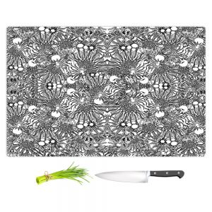 Artistic Kitchen Bar Cutting Boards | Susie Kunzelman - Flowers Go Go Black | Floral pattern repetition