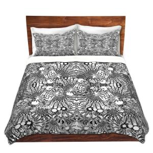 Artistic Duvet Covers and Shams Bedding   Susie Kunzelman - Flowers Go Go Black   Floral pattern repetition