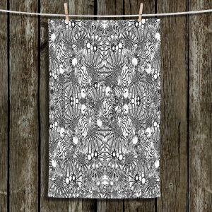 Unique Hanging Tea Towels | Susie Kunzelman - Flowers Go Go Black | Floral pattern repetition