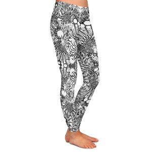 Casual Comfortable Leggings | Susie Kunzelman - Flowers Go Go Black | Floral pattern repetition