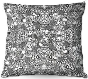 Decorative Outdoor Patio Pillow Cushion | Susie Kunzelman - Flowers Go Go Black | Floral pattern repetition