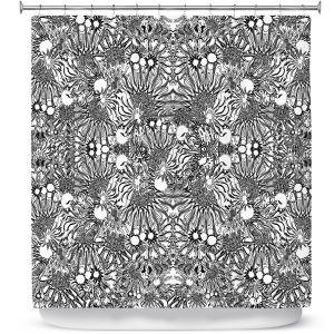 Premium Shower Curtains   Susie Kunzelman - Flowers Go Go Black   Floral pattern repetition