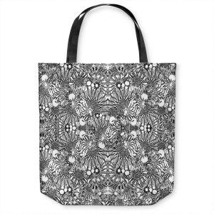 Unique Shoulder Bag Tote Bags | Susie Kunzelman - Flowers Go Go Black | Floral pattern repetition