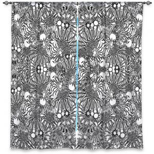 Decorative Window Treatments | Susie Kunzelman - Flowers Go Go Black | Floral pattern repetition