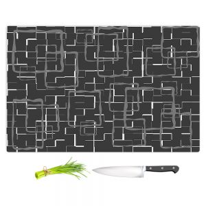 Artistic Kitchen Bar Cutting Boards | Susie Kunzelman - Geometrics Drizzle | Lines square rectangles pattern