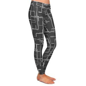 Casual Comfortable Leggings | Susie Kunzelman - Geometrics Drizzle | Lines square rectangles pattern