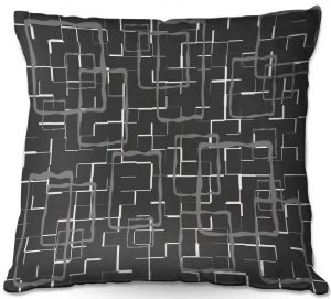 Decorative Outdoor Patio Pillow Cushion | Susie Kunzelman - Geometrics Drizzle | Lines square rectangles pattern